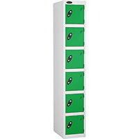 6 Door Locker D:305mm White Body & Green Door