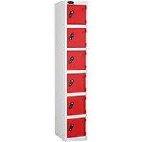 6 Door Locker D:305mm White Body & Red Door