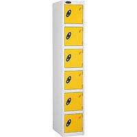 6 Door Locker D:305mm White Body & Yellow Door