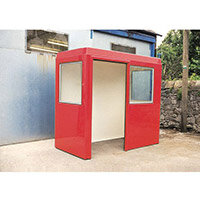 Waiting Shelter  With Windows Red L:2400 W:1200 H:2250mm