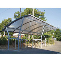Cambridge Shelter Flanged Polycarbonate Roof Extension Bay