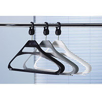 Coat Hangers Black Plastic & Captive Hooks Pack of 20