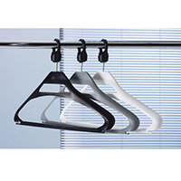 Coat Hangers Grey plastic & Captive Hooks Pack of 20
