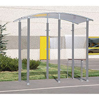 Steel Framed 2M Smoking/Vaping Shelter And Perch Seat Back to wall 370057