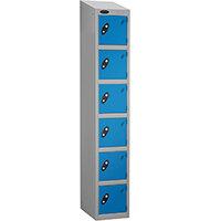 Locker Economy Range With Sloping Top 6 Door Depth:305mm Silver & Blue