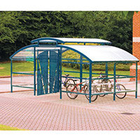 Lockable Cycle Compound With Security Canopy For 16 Bikes Blue
