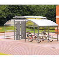 Lockable Cycle Compound With Security Canopy For 16 Bikes Light Grey