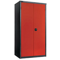 Black Carcass Cupboard Standard Red With 3 Shelves