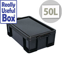 Really Useful Box 50L Black Polypropylene 100% Recycled Box
