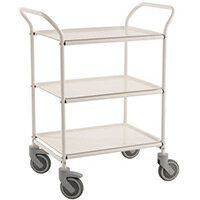 Three Tier Metal Service Trolley White