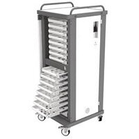 Lapstore Secure Charge Trolley For Up To 16 Mid Sized Laptops Light Grey & Black 16 Drawers - 1 Compartment in Each