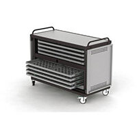 Lapstore Secure Charge Trolley For Up To 16 Large Size Laptops Light Grey & Black 8 Drawers - 2 Compartments in Each