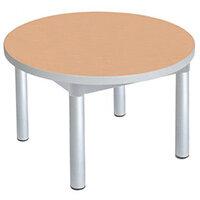 Enviro Round Coffee Table Silver Anodised Frame Beech Top Light Grey Edge