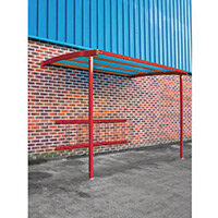 2270x3000x1900 Wall Mounted Cycle Shelter Extension For 8 Bikes Extension Red