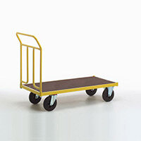 Platform Truck 1250mm Long With One End On Rubber Tyres