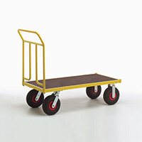 Platform Truck 1250mm Long With One End On Pnuematic Tyres
