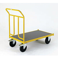 Platform Truck 1250mm Long With One End On Rubber Tyres With Brakes