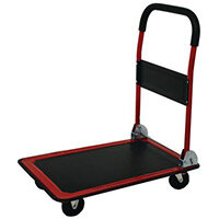 Folding Platform Truck 910x610mm With Pp Wheels And Comfort Hand Grip. Metalwork Red With Black Mat B