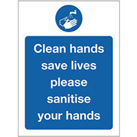 Sign Clean Hands Self-Adhesive Vinyl 300x100