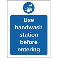 Sign Use Handwash Self-Adhesive Vinyl 300x100