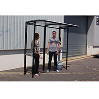 Corfe Open Fronted Smoking Shelter With Clear Roof Freestanding & Tower Bin Black HxWxD mm: 2100x2100x1074