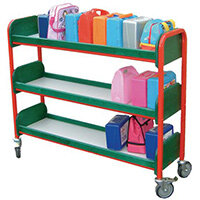 Large Single Sided Lunchbox Trolley Red Frame/Green Shelves