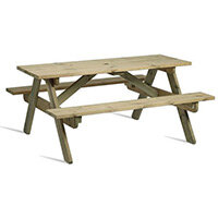 Hereford 6 Seater Sturdy Picnic Table Made From Fsc Certified Timber