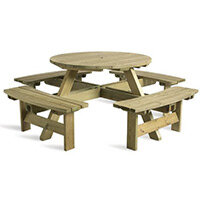King Picnic Bench 8 Seater Round