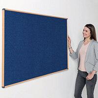 Shield Light Oak Wood Effect Frame Eco-Colour Fire  Resistant Notice Board 600x900 Blue