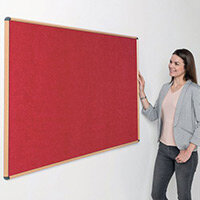 Shield Light Oak Wood Effect Frame Eco-Colour Fire  Resistant Notice Board 600x900 Red
