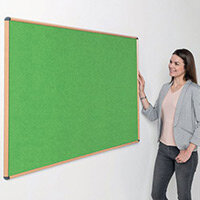 Shield Light Oak Wood Effect Frame Eco-Colour Fire  Resistant Notice Board 600x900 Apple Green