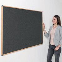 Shield Light Oak Wood Effect Frame Eco-Colour Fire  Resistant Notice Board 900x1200 Charcoal