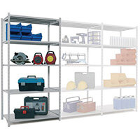 Tubular Open Frame Shelving Add-On Bay Grey HxWxD 2000x1000x400mm - 2 Uprights With Plastic Feet, 5 Shelves With Hardboard Covers, 250kg Shelf Capacity, 1600kg Max Bay Capacity