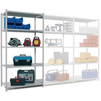 Tubular Open Frame Shelving Add-On Bay Blue HxWxD 2000x1000x400mm - 2 Uprights With Plastic Feet, 5 Shelves With Hardboard Covers, 250kg Shelf Capacity, 1600kg Max Bay Capacity