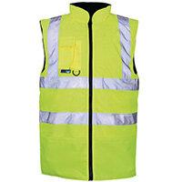 Hi Vis Reversable Body Warmer Fleece Lined Medium Yellow