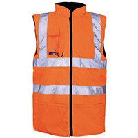 Hi Vis Reversable Body Warmer Fleece Lined Medium Orange