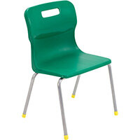 Titan 4 Leg Classroom Chair Size 3 350mm Seat Height (Ages: 6-8 Years) Green T13-GN - 5 Year Guarantee