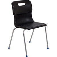Titan 4 Leg Classroom Chair Size 6 460mm Seat Height (Ages: 14+ Years) Black T16-BK - 5 Year Guarantee