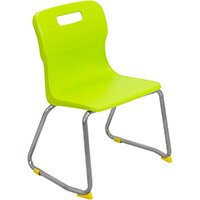 Titan Skid Base Classroom Chair Size 3 350mm Seat Height (Ages: 6-8 Years) Lime T23-L - 5 Year Guarantee