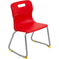Titan Skid Base Classroom Chair Size 3 350mm Seat Height (Ages: 6-8 Years) Red T23-R - 5 Year Guarantee