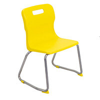 Titan Skid Base Classroom Chair Size 3 350mm Seat Height (Ages: 6-8 Years) Yellow T23-Y - 5 Year Guarantee