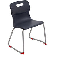 Titan Skid Base Classroom Chair Size 4 380mm Seat Height (Ages: 8-11 Years) Charcoal T24-C - 5 Year Guarantee