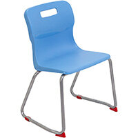 Titan Skid Base Classroom Chair Size 4 380mm Seat Height (Ages: 8-11 Years) Sky Blue T24-CB - 5 Year Guarantee