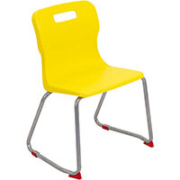 Titan Skid Base Classroom Chair Size 4 380mm Seat Height (Ages: 8-11 Years) Yellow T24-Y - 5 Year Guarantee