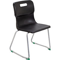 Titan Skid Base Classroom Chair Size 5 430mm Seat Height (Ages: 11-14 Years) Black T25-BK - 5 Year Guarantee