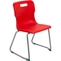 Titan Skid Base Classroom Chair Size 5 430mm Seat Height (Ages: 11-14 Years) Red T25-R - 5 Year Guarantee
