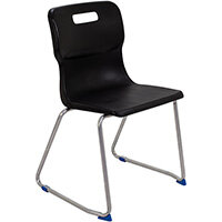 Titan Skid Base Classroom Chair Size 6 460mm Seat Height (Ages: 14+ Years) Black T26-BK - 5 Year Guarantee