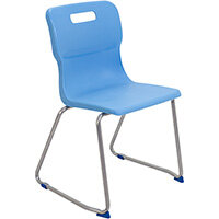 Titan Skid Base Classroom Chair Size 6 460mm Seat Height (Ages: 14+ Years) Sky Blue T26-CB - 5 Year Guarantee