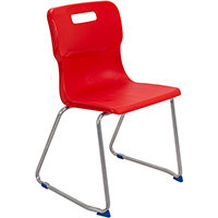Titan Skid Base Classroom Chair Size 6 460mm Seat Height (Ages: 14+ Years) Red T26-R - 5 Year Guarantee