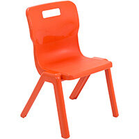 Titan One Piece Classroom Chair Size 3 350mm Seat Height (Ages: 6-8 Years) Orange T3-O - 20 Year Guarantee